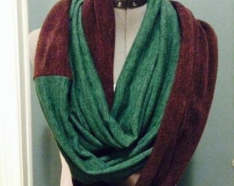 Green and Brown Two Toned Infinity Scarf,  Women's fashion, scarves, Fashion, Accessories, women's wear, for her, green scarf