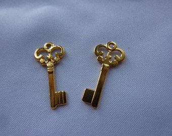 22mm Tiny Gold Key Charms (set of 2)