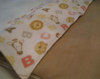 BABY PLAY Mat, Coral and brown on white fleece
