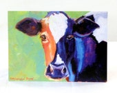 Crazy for Cows Art Print Card, cow card, note card, gift card, birthday card, colorful cow