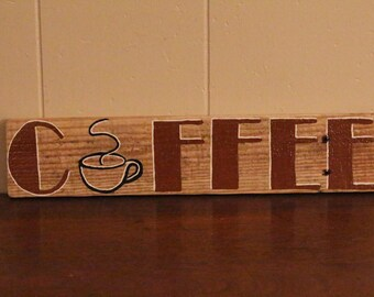 Coffee, pallet sign, recycled wood, wall decor, distressed, gift idea, cottage chic, coffee sign