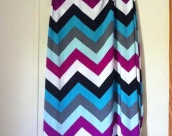 Chevron maxi skirt long comfy yoga waist aqua