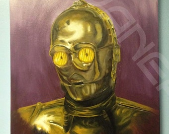 Original Oil painting of C3PO Star Wars