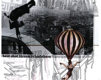 City Balloon - giclee print of original collage