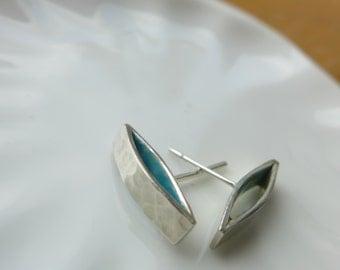 Cufflink Earrings,Sterling Silver