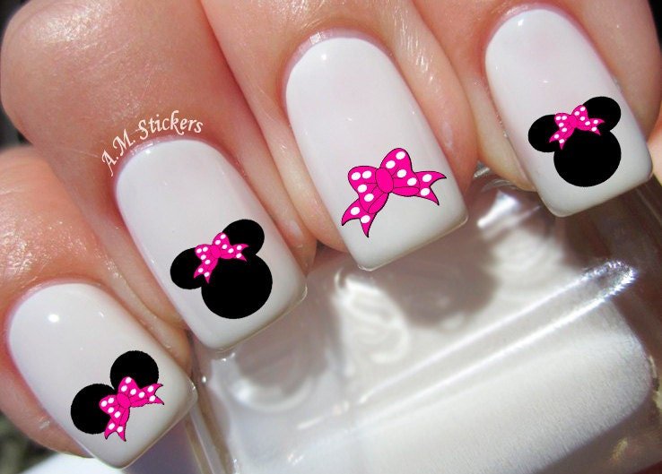 Minnie Mouse Bow Nail Art Minnie Mouse Pink Bow ...