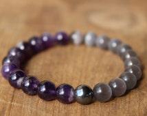 Amethyst/ Gray Opal Cat Eye w/ Hematite, Semiprecious gemstones, Women's Bracelet, Men's Bracelet, Hippie, Protection, Reiki, Meditation