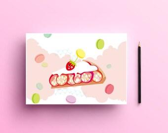 strawberry cake,celebration card,illustration