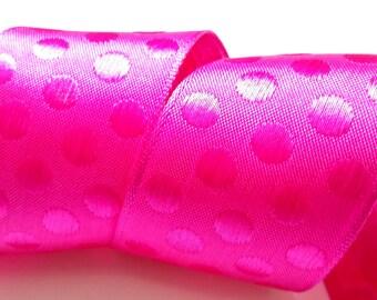 1,5 pouces du fil tranchant ruban, ruban à pois rose, fleuristerie ruban, ruban de cadeau de luxe, emballage cadeau, ruban pour des arcs, fournitures d'artisanat