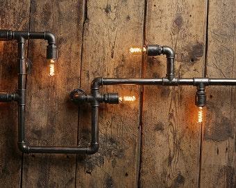 pipe lamp etsy. Black Bedroom Furniture Sets. Home Design Ideas
