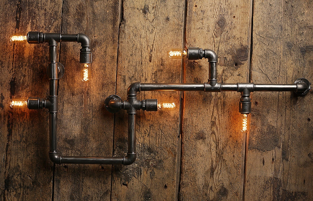 steampunk lampe industrial design metall wasserrohr. Black Bedroom Furniture Sets. Home Design Ideas