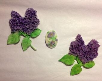 Fondant topper, Lovely Lilacs 3 pieces