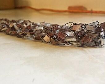 Crochet Ladder Ribbon Necklace in Caramel Mauve Brown Multistrand Multicolored