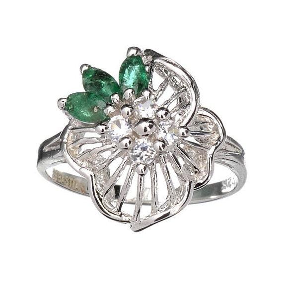 emerald topaz and platinum sterling silver ring vintage