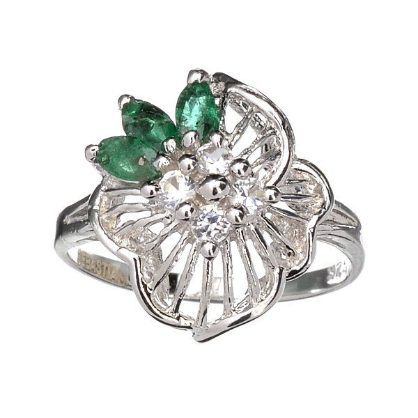 emerald topaz and platinum sterling silver ring vintage
