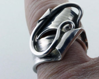 Ring Sterling Silver, Forged W/Tapered Scroll - Size 6 1/2