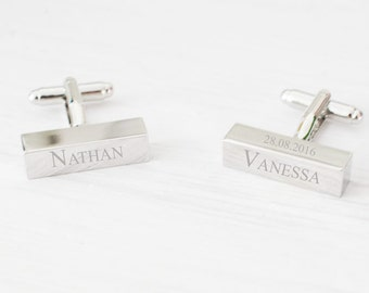 Personalized Engraved Cufflinks for Men - Gift - Father - Groom - Groomsmen - Father Day - Wedding - Graduates