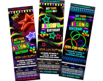 neon birthday party invitation