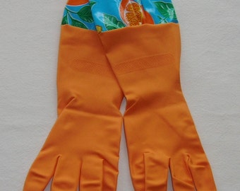 Orange Kitchen Gloves with Aqua & Oranges Oil Cloth Trim