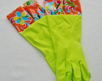 Lime Green Kitchen Gloves w/Orange Oaxaca Oil Cloth Trim