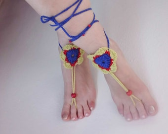 FREE SHIPPING, Knitted barefoot sandals, Crochet barefoot sandals, Foot Jewelry, Beach Wedding Bridal Accessory