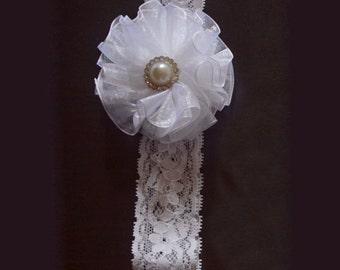 Blessing Headband, Baby girl headband, sheer flower headband, flower headband, baby headband, white, christening headband