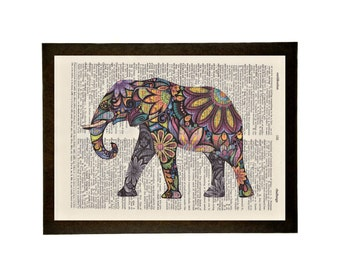 """Colorful Elephant - Ready to hang 9"""" x 12"""" vintage dictionary wall art"""