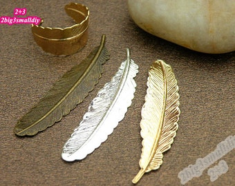 10pcs 53x12mm Pure brass feather charm ring making supplies diy handmade materials jewelry supplies