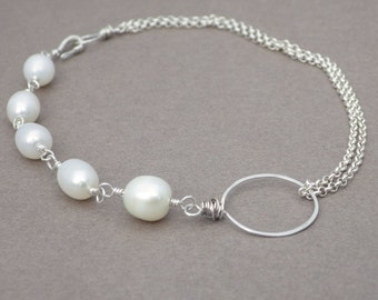 Asymmetrical Pearl Bracelet -- Sterling Silver Chain and Pearls