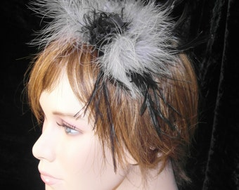 Grey and black headband without flower - grey and black headband without flower