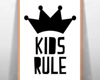 Kids Rule Children's Art Print Wall Art, Nursery Art, Digital Art Print Baby Room Print Kids Room Printable Typography Poster