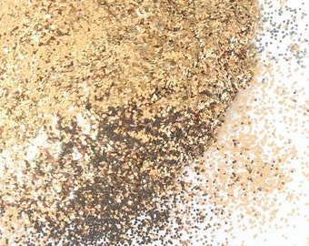 Vintage Gold Hex .015 - Solvent Resistant Glitter for suspension base, nail polish, nail art, crafting and more