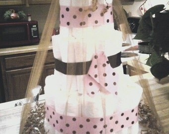 Pink & Chocolate 3 tier diaper cake