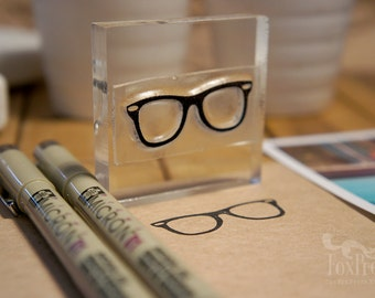 Hipster Glasses Rubber Stamp - 2 x 2 inches (5 x 5 cm)