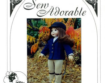 "Sew Adorable 18"" American Girl Doll Clothes Pattern, American made, Riding Outfit"