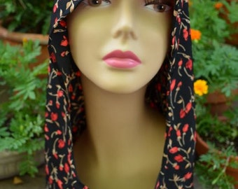 Rose Print Floral Renaissance Hood - Portion of sales donated to FOUNDATION of YOUR CHOICE- Punk Rock Emo Goth Boho Hippie Summer Accessory