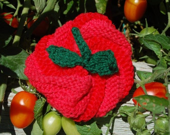 The perfect Knitted Kitchen Scubby, styled like a tomato