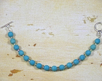Summer, Beach, Turquoise Stone-Finished Czech Glass Bracelet