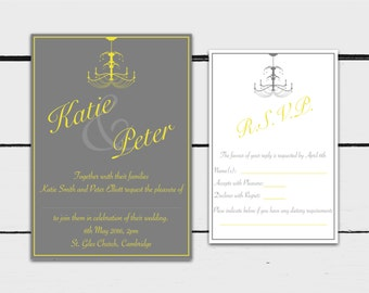 Printable Grey and Yellow Chandelier Wedding Invitation Set: Invitation with RSVP