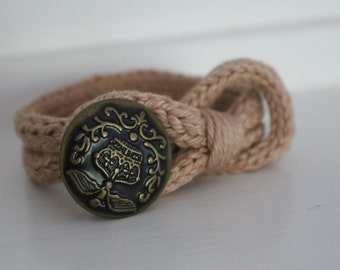 Hand Knit Bracelet, Hand dyed bracelet, vintage button, Cuff Bracelet, Wrap Bracelet,
