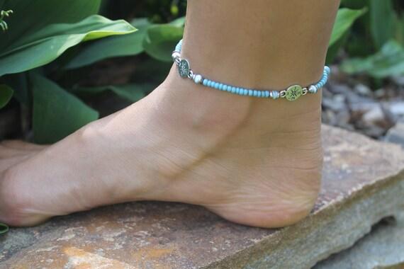 Ankle Bracelet, Anklet Bracelet, Beach Anklet, Hemp Ankle Bracelet, Turquoise, Compass Charms, Bohemian Anklet Bracelet