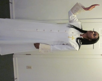 Clerical Apparel (Eve) Robe for Wedding Ceremonies, Communion Robe, Pulpit Robe, White robe, trimmed with gold brocade, buttons and cross.