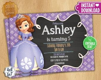Disney Princess Sofia The First Invitation - Instant Download - Customizable Birthday Party Invite - Princess Sofia - EDITABLE TEXT