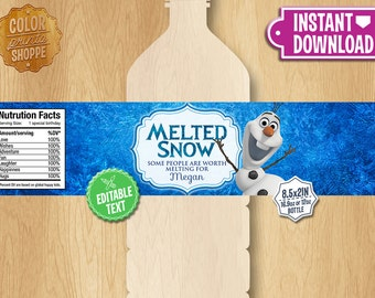 "Frozen Water Bottle Labels - INSTANT DOWNLOAD 2.5x8"" Melted Snowman Frozen Water Bottle Labels - Birthday Party Printable Olaf"