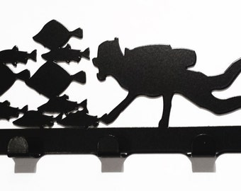 Scuba Diver with Tropical Fish Silhouette Key Hook Rack - metal wall art