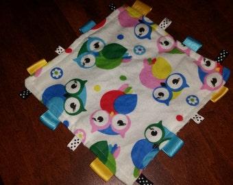 Owl taggie blankets