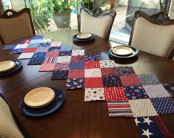 Fourth of July Patriotic Zigzag Quilted Tablerunner
