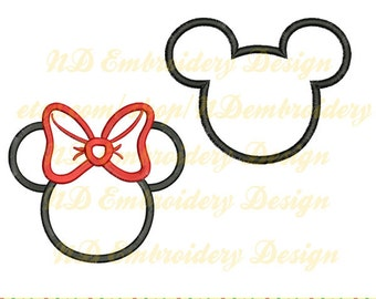 Mickey Minnie Mouse Ears Applique Set, 2 designs, machine embroidery, ms-035