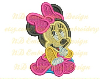 Minnie mouse embroidery design, filled stitch Disney Machine Embroidery, ms-042-fill