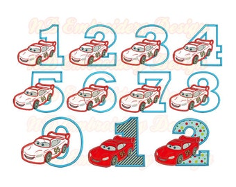 Red Car Face Birthday Set Embroidery Applique Design,  race car number 1-9 package,  vl-007-1-9